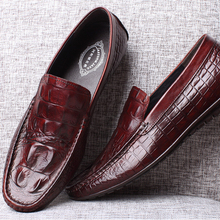Quality assured factory genuine leather crocodile style black men leather loafers for men