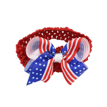 Wholesale USA national flag independence day products children's bows with baby hair headdress