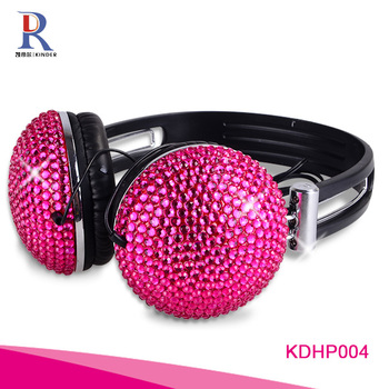 Stylish bling bling crystal beaded branded wireless headphones diamond sport headphone