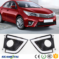 12V Fog Lights Daytime Running Light For Toyota Corolla 2014 2015 LED Guide DRL With Turn Signal