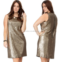 Comfortable vogue flattering turtleneck sequins loose tank dresses