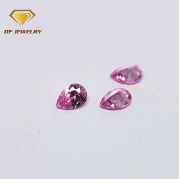 Discount gemstone pear cut pink cubic zirconia synthetic stone wuzhou