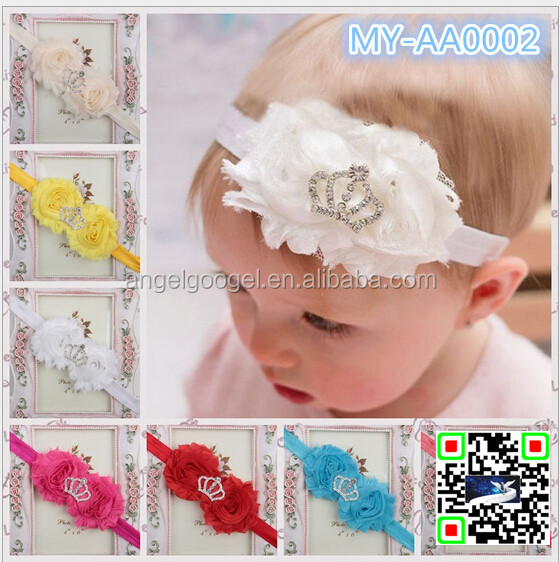 Latest Cute Crystal Pearl Baby Girl Crown cotton Headband Newborn Infant Tiara Glitter Crown Princess Headband MY-AA0002