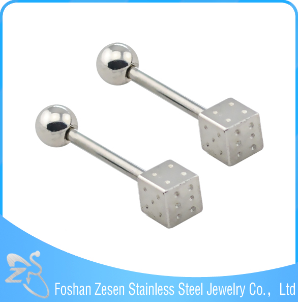 Dice Design Steel Bar Flexible And Acrylic Tongue Rings