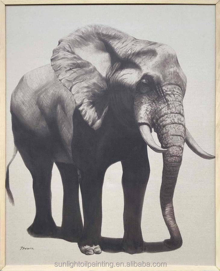 Elephant 1 A24 High Quality Printed Animal Linen Canvas Art Wall Oil Printing