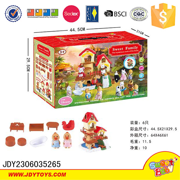Hot sell my happy sweet family house toy with doll
