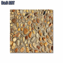 3D Cobble Stone Image Printing Eco-friendly Wall Sticker Decoration