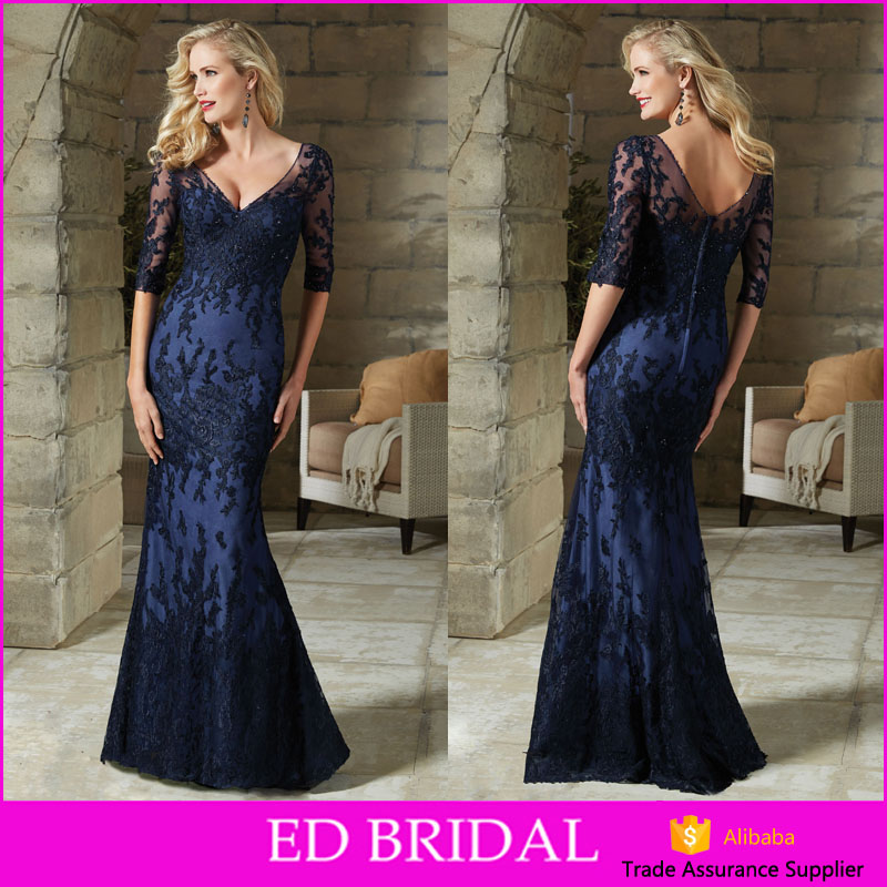 Elegant See Through Sleeves Appliques Color Mermaid Sexy Mother Of The Bride Dress With Sleeves