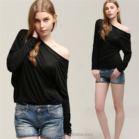 Hot Sale Fashion Simple Off Shoulder Long Sleeve Batwing Sexy Women Blouse Top