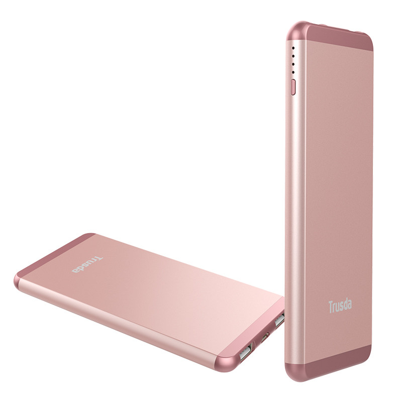 Ultra slim Rose Golden 10000mAh power bank 2 Port External Portable Battery