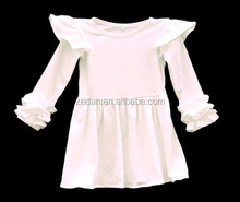 Ivory Icing Ruffle Shirts Toddler Long Sleeved Ruffle Girls Flutter Dress Baby Frock design