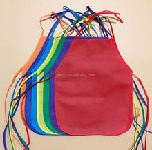Promotional non woven apron cheap disposable kids aprons for painting