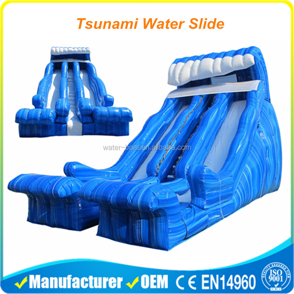 giant blue inflatable wave water slide for kids and adults