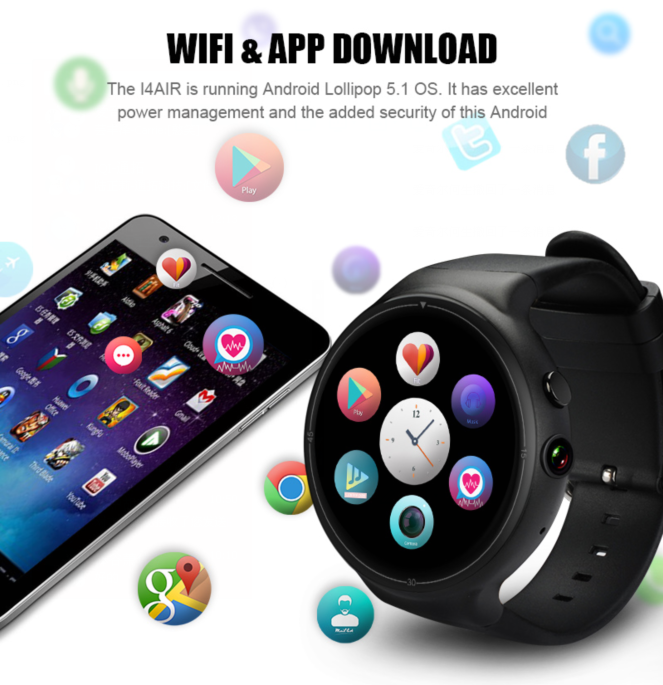 SMA-I4 android watch download app from google play support GPS and wifi connection