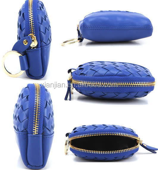 Wholesale Bulk Lady Round Leather Handmade Woven Coin Purses (LCHWP25)