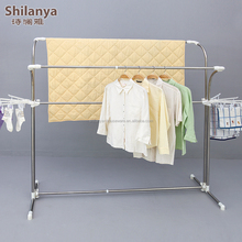 double-pole folding telescopic stainless steel clothes hanger
