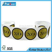 Logo Printed waterproof paper Fashion round sticker on roll or in sheet