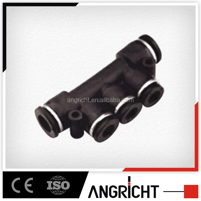 A114 PK Black Plastic Pneumatic 5 holes industrial air vacuum hose connector quick fitting