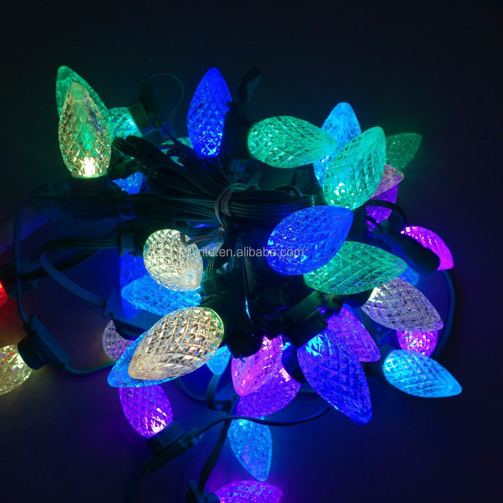 LED C9 addressable WS2811 DC12V 8mm technicolor pixel string;50nodes/strand;all GREEN wire and case;IP67
