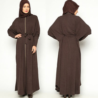 Button placket long style erected collar long sleeves abaya models dubai