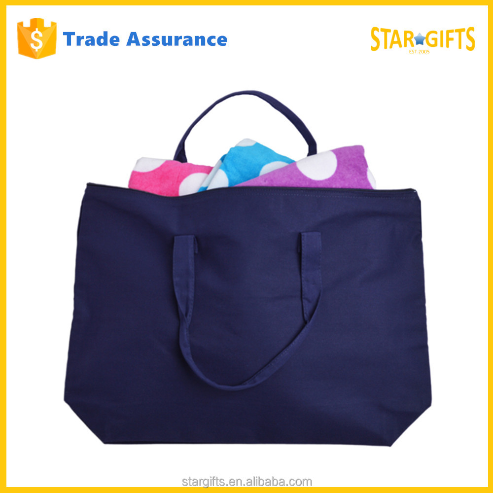 High Quality Zipper Purple Canvas Wholesale Reusable Eco Shopping Bag
