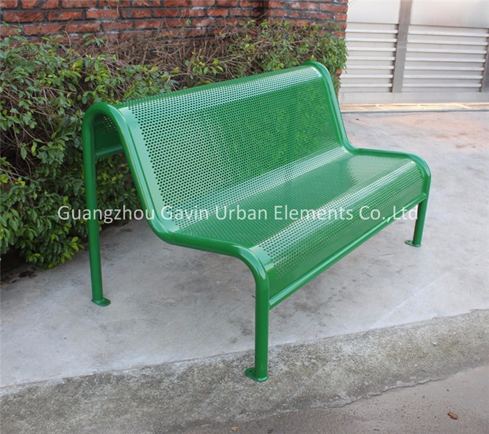 Outdoor Backless Patio Bench Perforated Metal Garden Bench