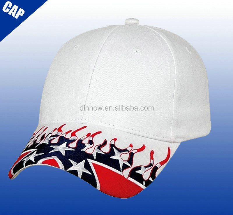 White 6 panel sports golf cap