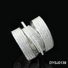 Yiwu Factory DYSJ0138 Vogue Cubic Zirconia Pave Setting Rhodium Plating 3 Band connected Lots Sterling Silver Rings