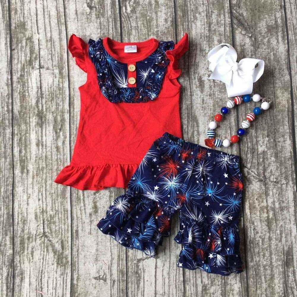 summer baby girls firework clothing kids boutique clothes ruffles shorts sets children summer boutique outfits with accessoreis