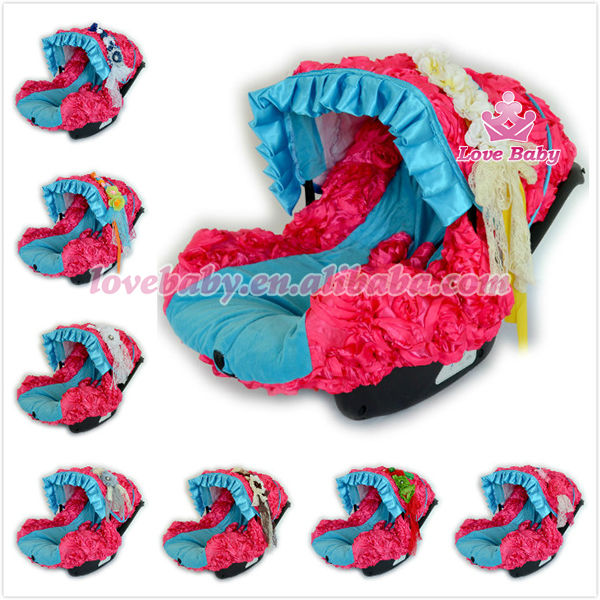 201 fashion blue rosette cotton custom design printed car seat covers