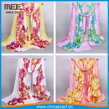 Hot sale soft 100% polyester silk felling Transparent silk scarf