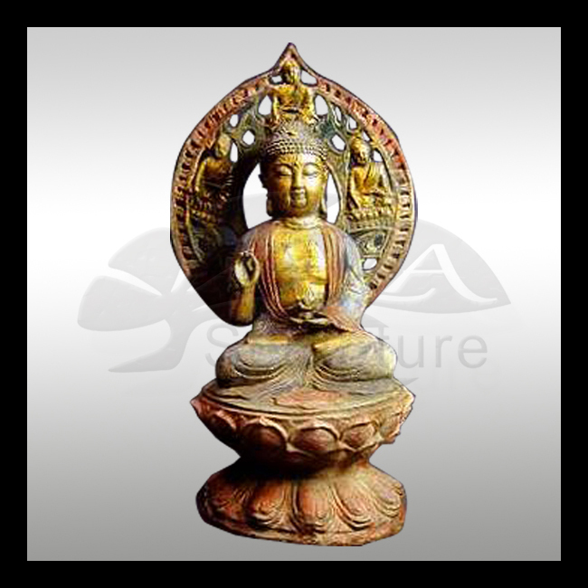 high quality wholesale buddha brass statue with 24k gold