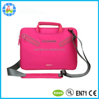 water-resistant neoprene laptop case with hidden handle adjustable shoulder strap