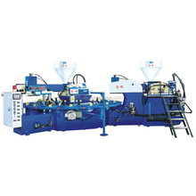 Automatic 2 colors out sole and upper making machine, rotary shoe making machine