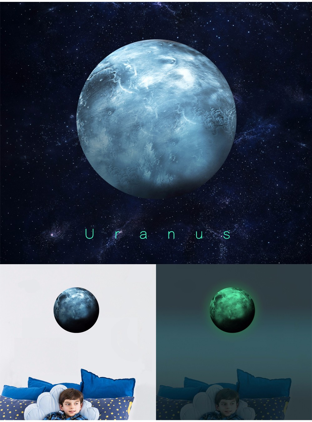 FL10138-U Home Decoration The Planets Uranus Glow in the Dark Star Sticker