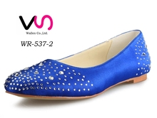 Royal blue bllet flat bridal shoes with crystals