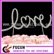 Customized new products wedding rhinestone LOVE cake topper party supplies China whoesale