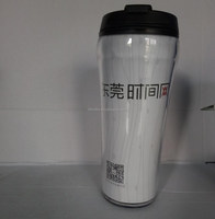 promotion food grade double wall plastic stainless coffee mug engrave
