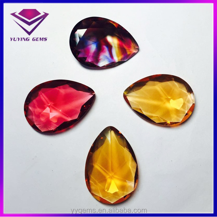 Wuzhou Gold Supplier Synthetic Pear Cut Multi Color Glass Loose Gemstone Wholesale