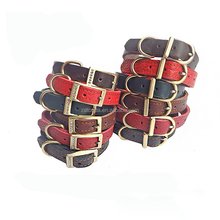 Wholesale Making Personalized Fashion Pet Collars Cowhide Leather Handmade Dog Collars