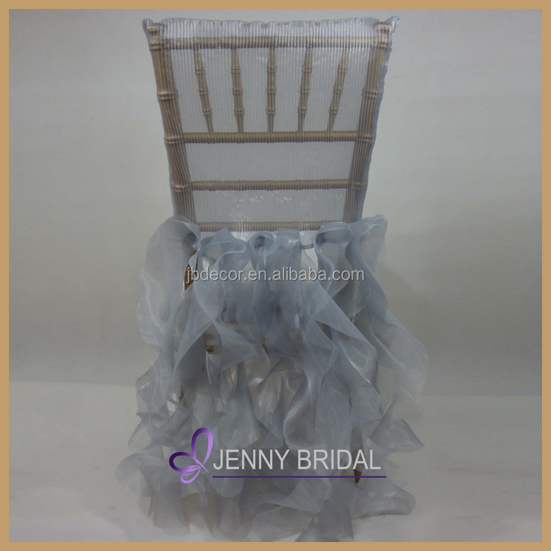 C009J banquet high quality steel grey pleated ruffled organza wholesale cheap chair covers