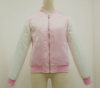 Satin bomber jacket with embroidery for women