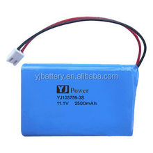 lithium polymer cell 103759 11.1v2500mah li polymer battery with longest life battery