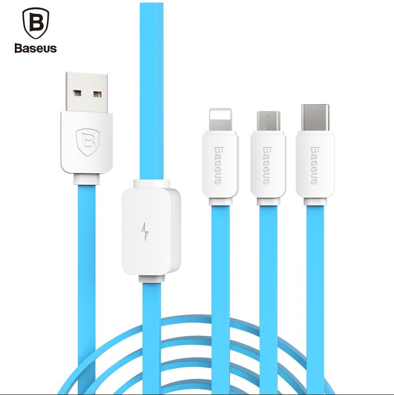 Baseus String Series 1.2m 3 in 1 Data Cable 8 Pin Micro USB Type-C Connector Cord For iPhone For Samsung For Xiaomi Noodles Line