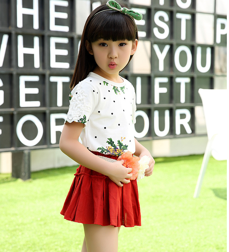 2136 2016 Korean Style Children Girl Casual Skirt Clothing Set