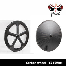 Five spoke weel with Novatec hub carbon 5 spoke bicycle wheel