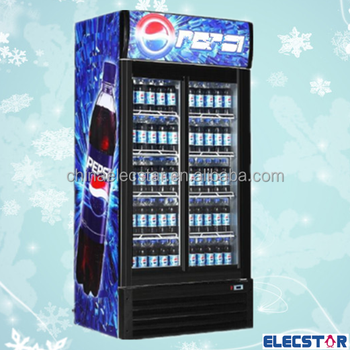 HOT SALE Upright two glass door fridge with bright lamp/commercial glass door upright fridge for drinks