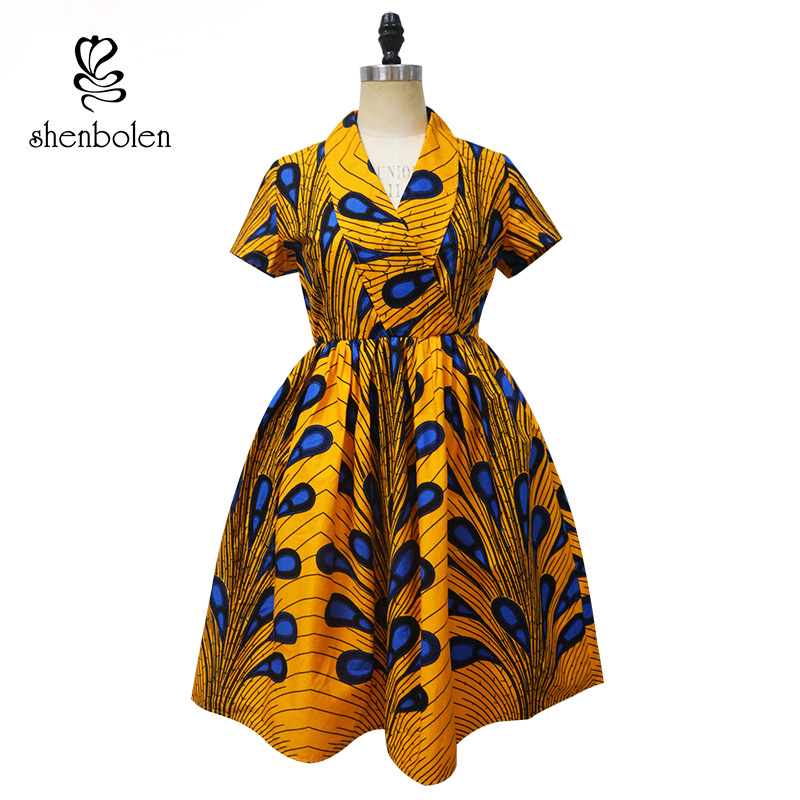 2018 Summer African print kitenge designs peacock wholesale dress manufacturer