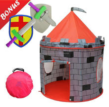 Castle Kids Play Tent Indoor Outdoor Childrens Playhouse Durable Portable with Free Carrying Bag