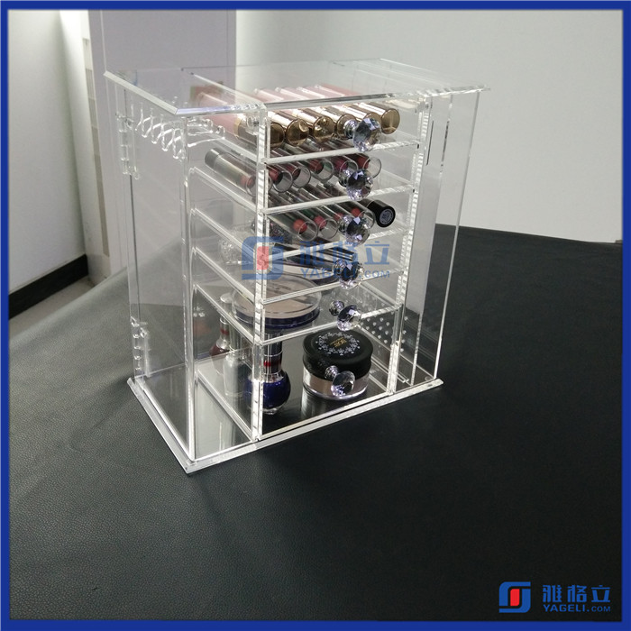 Wholesale custom made 6 drawers acrylic makeup box organizers with crystal knobs / acrylic pierced earring jewelry box